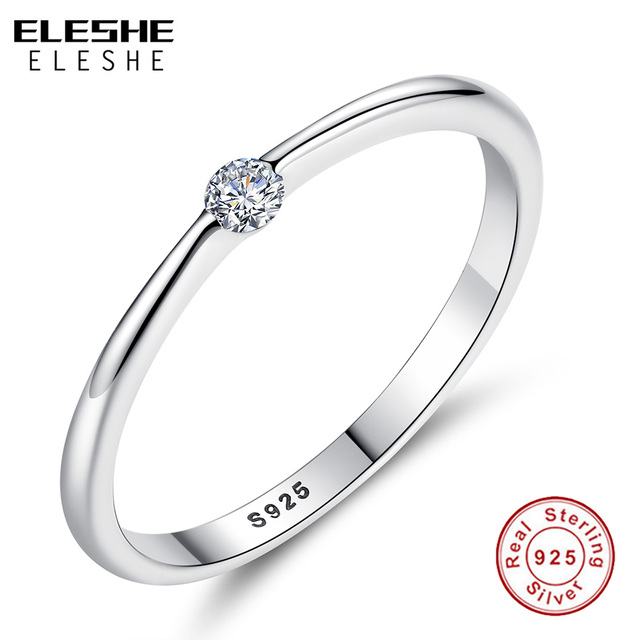 ELESHE Authentic 925 Sterling Silver Rings Round Zirconia Crystal Finger Rings f