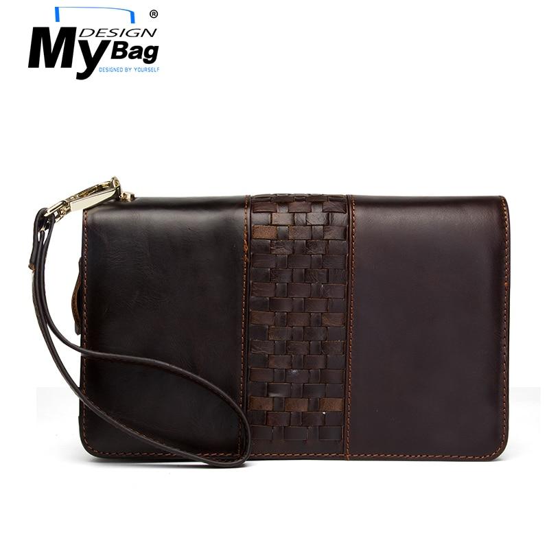 DESIGN MYBAG Business Crazy Horse Weave Leather Wallet for Men Double Zipper Handy Bags Large Capacity Money Walltes Mini Bag