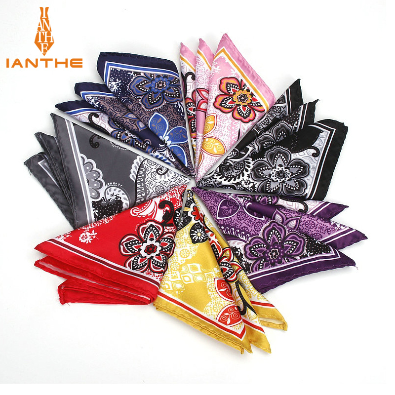 Men's Classic Wedding Party Handkerchief Business Polyester Silk Flower Paisley Pocket Square Hanky Accessories Towel Gifts