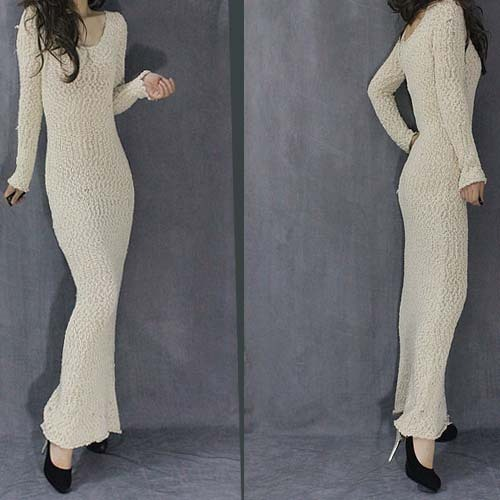c6871498e6c3 Spring autumn woman elegant sexy S style long sleeve maxi sweater dress  ankle length knitted dress winter basic dress FF20