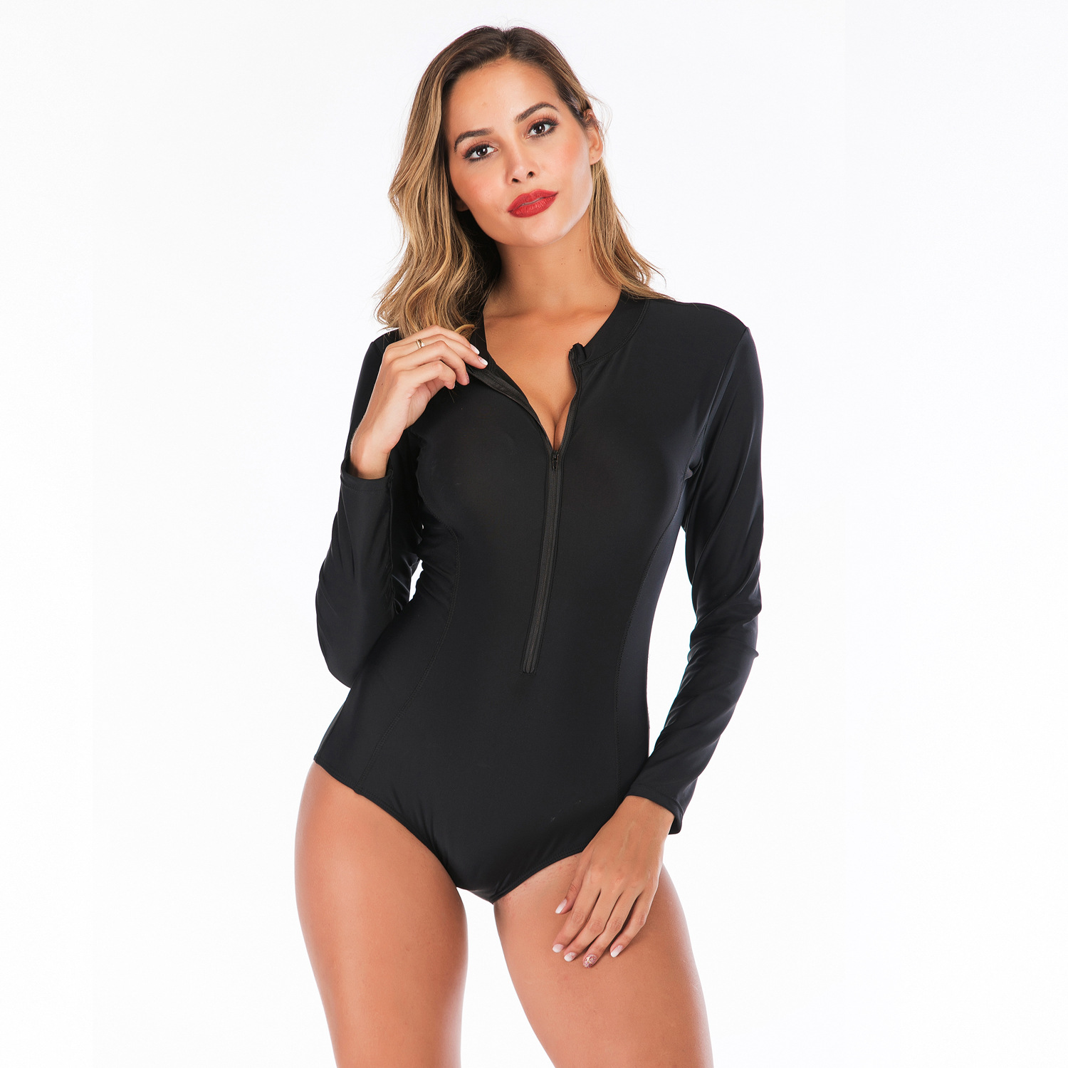 Black Solid Color Women One Piece Body Suits Beachwear Surfing Diving Swimsuit Sexy Swimwear Summer Long Sleeve Bathing Suit