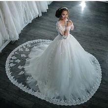Платье для свадьбы с длинным рукавом белое платье невесты отделкой