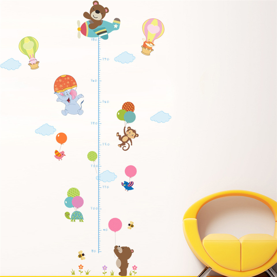 Removable Height Wall Stickers Monkey Bear Kids Room Decor Decal