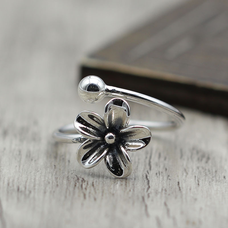 Thai Silver Retro Beauty Lady Flower Opening Ring S925 Sterling Silver Jewelry Personality Simple New Ring