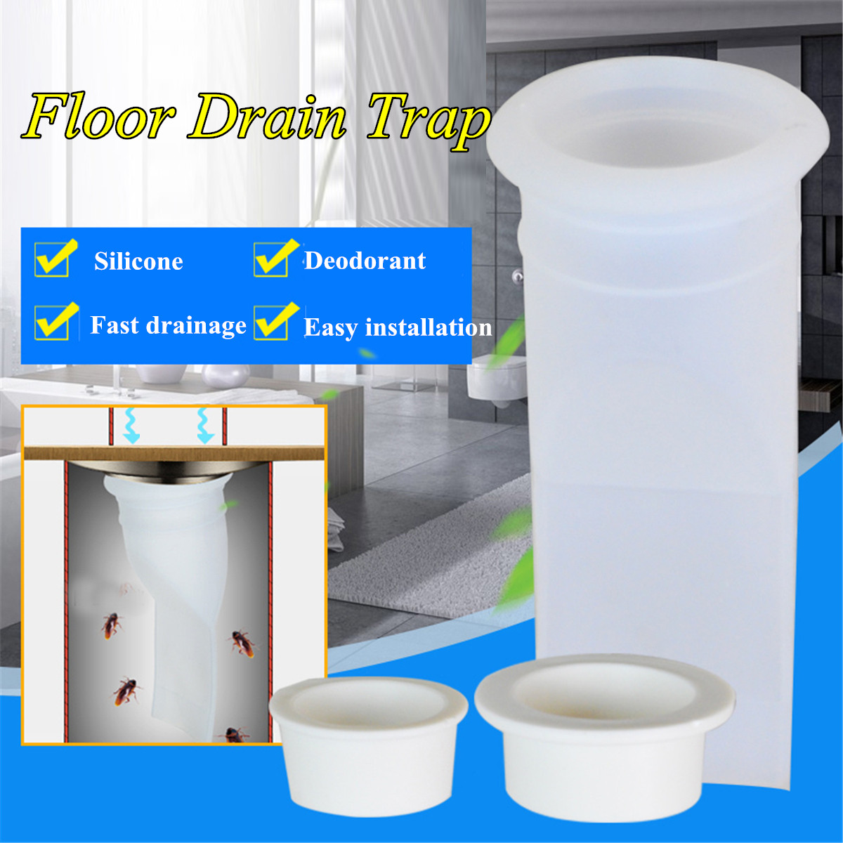 White Silicone Shower Floor Water Drain Bathroom Odor-proof Pipe Sewer Core Deodorant Strainer Kitchen Sink Drain Accessories