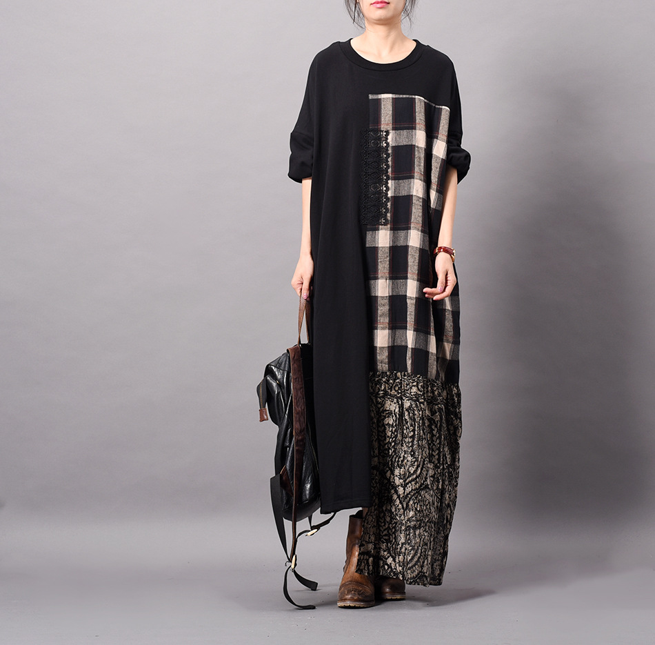 Women Plus Size Irregular Length Patchwork Plaid Dress Ladies Printed Spliced Loose Dress Female Oversize Bat