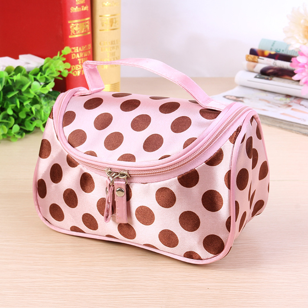 Cute Girls Polka Dot Double Zipper Organizer Make Up Travel Storage Waterproof Women Portable Durable Cosmetic Bag Toiletry(China)