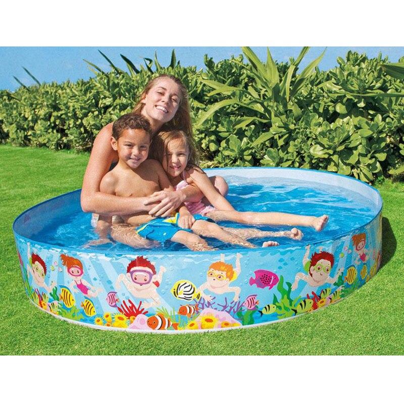 Livraison gratuite 2018 mignon Kawaii famille 152*25 cm bébé piscine haute sécurité bébé flotteur infantile PVC piscine pour la famille