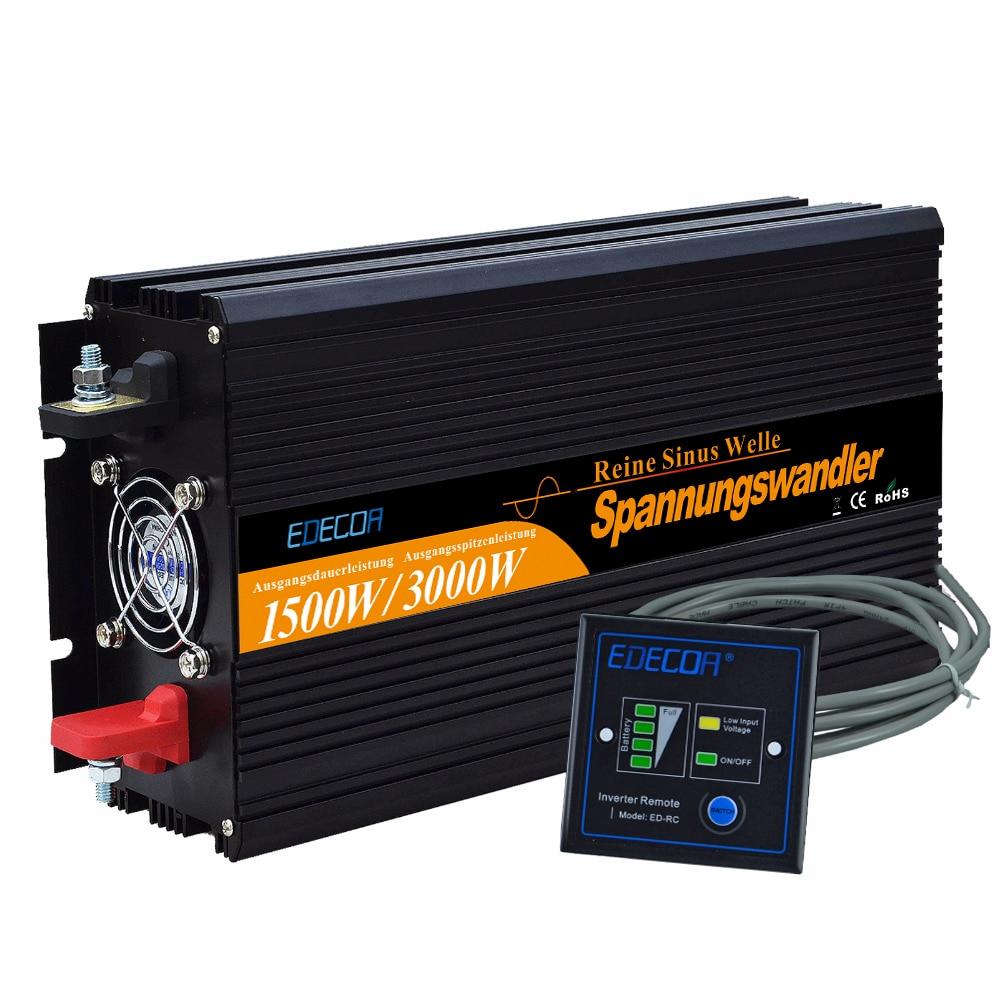 12 v-220 v onda sinusoidale pura power inverter 1500 w 3000 w di picco convertitori con Telecomando di controllo