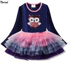Dxton Girls Dress Long Sleeve Kids Cartoon Dresses Children Animal Vestidos 2018 Princess Autumn LH4592