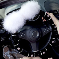 Luxury Ostrich Fur Ball Crystal Auto Car Steering Wheel Cover For Women Plush Stripe Pearls Car Accessories Car Styling