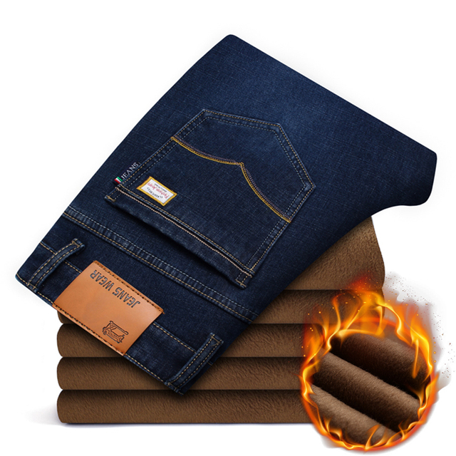 Winter Fleece Men Jeans For Autumn New Warm Thick Classic Straight Blue Long Stretch Slim Denim Pants Brand Casual Trousers Male