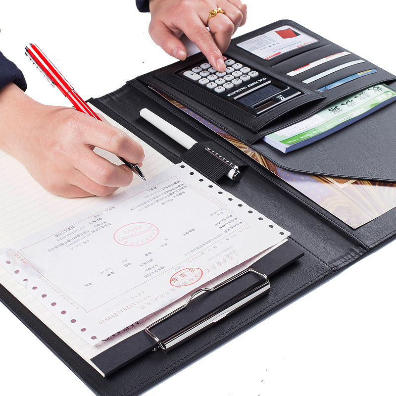 A4 Manager Folder Multifunction  Leather Office Folder Includes/ 12-bit calculator Clipboard Business organizer Folder manager folders with 4000mah mobile power multifunction cument holder manager holders office supply work accessories