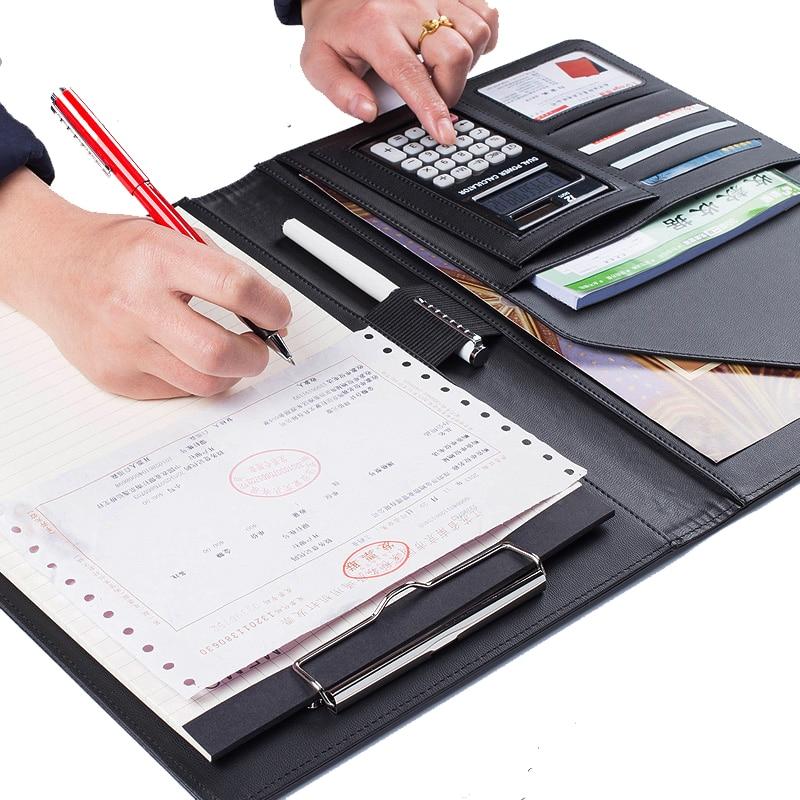 Pasta de Arquivo calculadora clipboard pasta organizador de Material : Couro