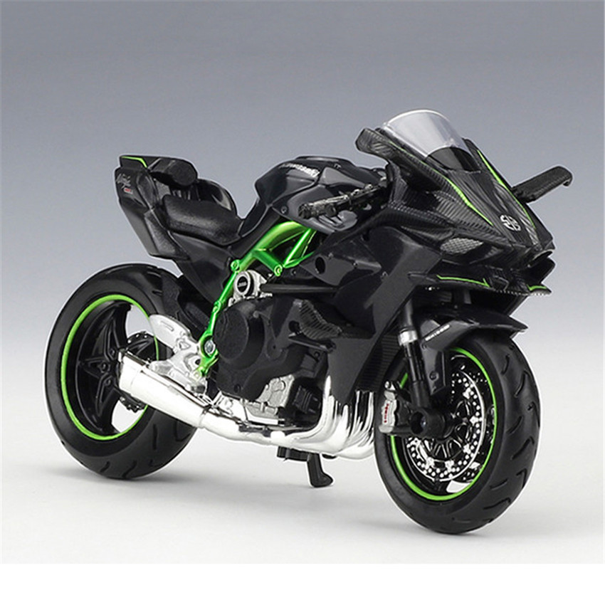 maisto 1 18 kawasaki ninja h2r motorcylce model with removable base diecast moto children toy. Black Bedroom Furniture Sets. Home Design Ideas