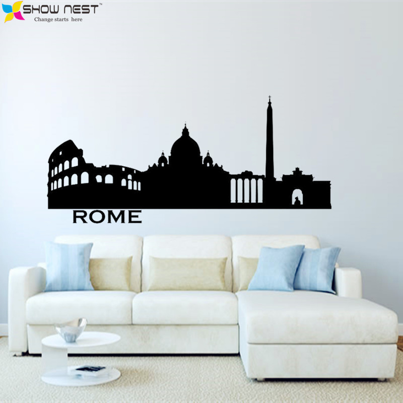 Italy rome skyline wall decal city silhouette vinyl for Sticker mural couloir
