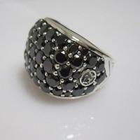 Solid 925 Silver Men's Jewelry Pave Cognac Diamond Chevron Signet Ring with Black Diamonds Design Jewelry Fine Men Ring