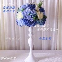 2018 New Pink purple artificial silk hydrangea rose road led flowers wedding decorative centerpiece flowers 10pcs/lot