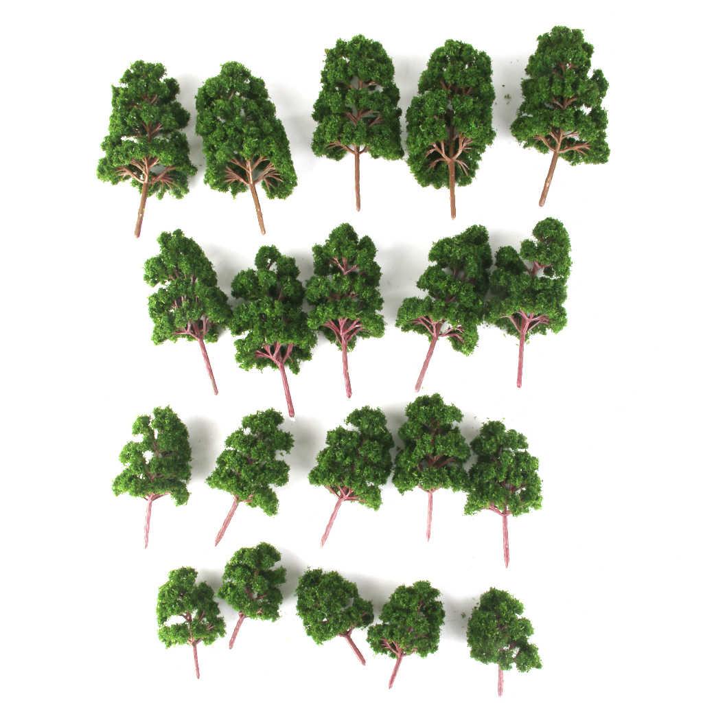 20 sztuk ciemnozielony Z tworzywa sztucznego drzewa modele HO N Z skala model pociągu zestawy kolei dekoracje układów Diorama architektura akcesoria do wystroju wnętrz