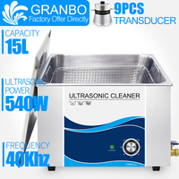 GRANBO 15L 540W Ultrasonic Cleaner Bath Timer Ultrasound Bath with Stainless Baskets For Hardware Golf Ball Chains Rust Oil