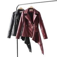 2018 Coat HOT Chaquetas faux leather coats Women Winter Autumn Fashion Motorcycle Jacket Black Outerwear faux leather PU Jacket