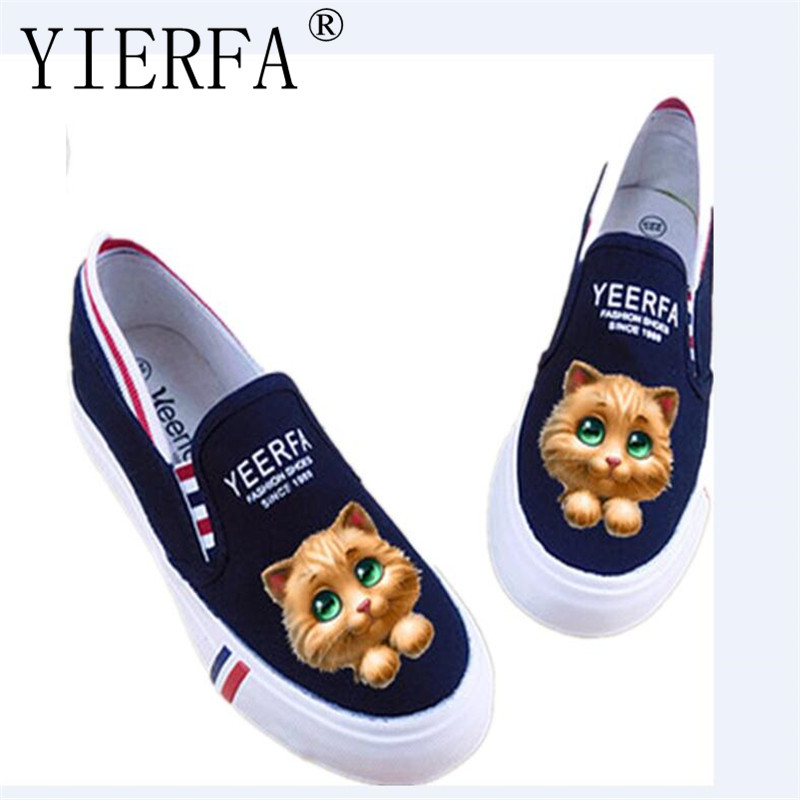 YIERFA New 2018 spring Summer Graffiti Canvas Shoes Flat Hand Painted Cartoon Women Shoes Fluorescent flat shoes 35-40 eur e lov hand painted graffiti horoscope canvas shoes custom luminous graffiti gemini casual flat shoes women zapatillas mujer