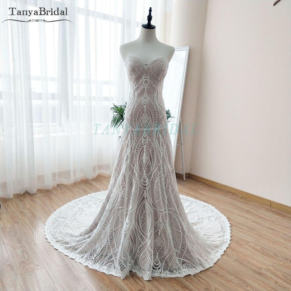 Удивительные изумительное свадебное платье Boho Whimsic Русалка роскошная, для невесты платья Обнаженная Подкладка Chic Noivas Sposa DW048