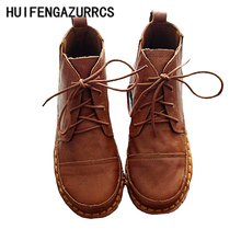 HUIFENGAZURRCS-New 2017 Pure handmade leather ankle boots,The retro art mori girl shoes,Casual retro short boots,3 colors