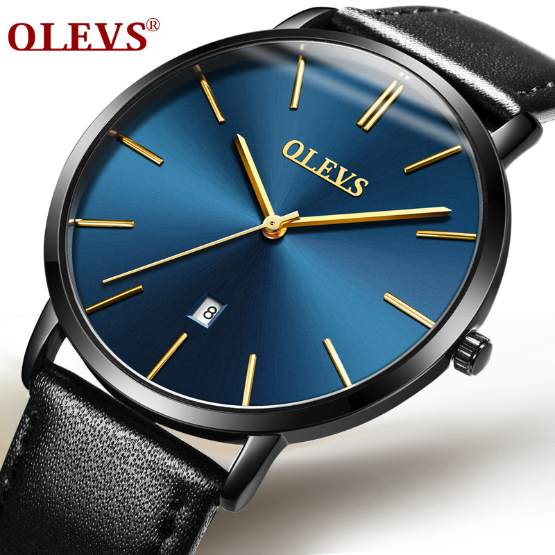 OLEVS Business Watch Auto Date Waterproof Watches Ultra Thin Design Dial Quartz Fashion Men Wristwatch Leather Strap Watch M5869 60%off fashion silicone bracelet watch olevs men classic design military watches quartz auto date diver sports wristwatch 2017