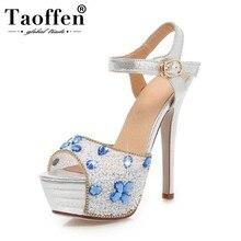 08ba4ae60 TAOFFEN zapatos de plataforma de boda con diamantes de imitación para mujer  Sandalias de tacón alto Peep Open Toe oro plata lent.