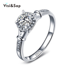 Vissap Wholesale S925 Halo Ring White Gold Filled Engagement Wedding Jewelry Rings For Women cz diamond Bijoux vintage VSR053