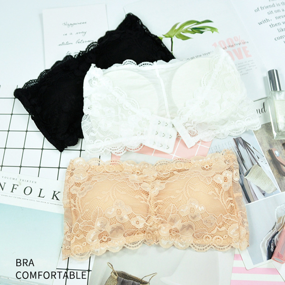 Women Lace Floral For Sexy Women Bra Bustier Back Closure Padded Bra Bralette Strapless Tube Top Lingerie