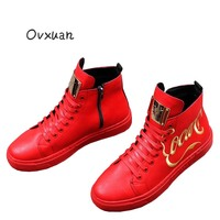 Ovxuan Autumn Embroidery Shoes for Men Male Ankle Sneakers Shoe Luxury Italian Dress Loafer Metal Sheet Top Motorcycle Men Shoes