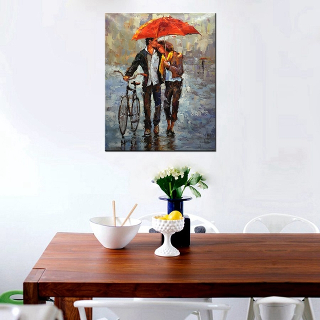 Giclee Printed Couples Holding Red Umbrellas Hold Bicycles Knife Oil Painting Print on Canvas Landscape Picture Bedroom Wall Art