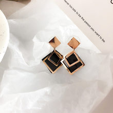 2019 New Korean Black Hollow Earrings Rose Gold Square Titanium Steel Drop Earrings for Girl Women Fashion Jewelry Accessories(China)