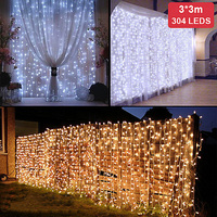 Christmas Lights Outdoor 3M*3M 304 LED Icicle String Lights Xmas Fairy Lights for Wedding Party Curtain Garden Decoration