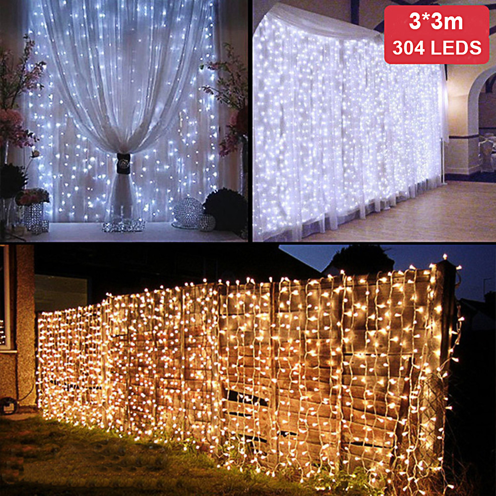3M*3M 304 LED Icicle String Lights Christmas Xmas Fairy Lights Indoor Outdoor Home Wedding Party Curtain Garden Decoration globe fairy string bulb lights for indoor outdoor wedding christmas xmas thanksgiving party events home roof decor colorful