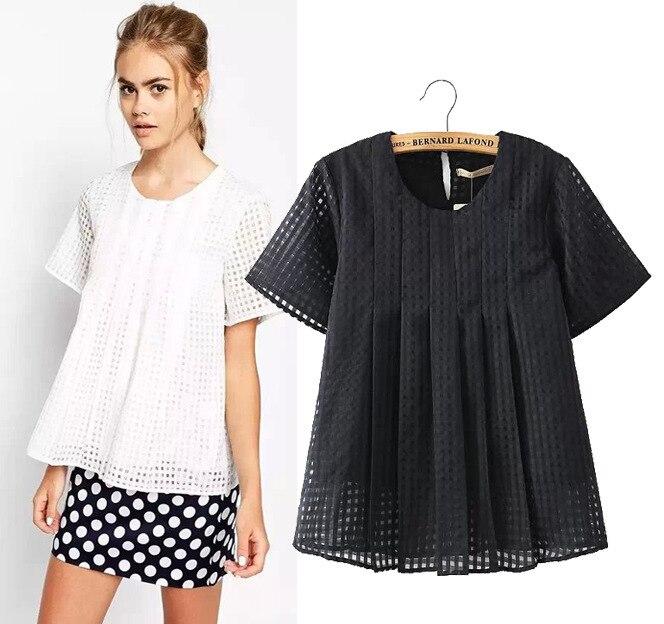 Fashion-2015-Short-Sleeve-Organza-T-shirt-Women-White-Women-s-T-Shirt-Black-Top-poleras