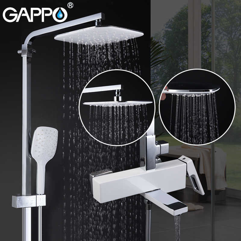 GAPPO อ่างอาบน้ำก๊อกน้ำสีขาวทองเหลืองห้องน้ำ bath shower mixer ชุดน้ำตก rain shower อ่างอาบน้ำก๊อก