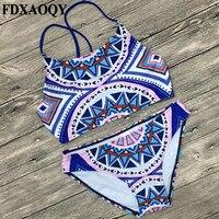 FDXAOQY Hoge Hals Sexy Bikini Set Badpak Vrouwen Badmode Print Push Up Cross Strap Zwempak Strand Femme 2018 NIEUWE stijl