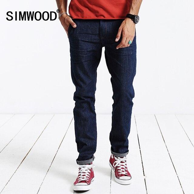 b712028661 SIMWOOD 2018 nueva primavera invierno hombre jeans completos pantalones  largos pantalones de mezclilla de algodón de
