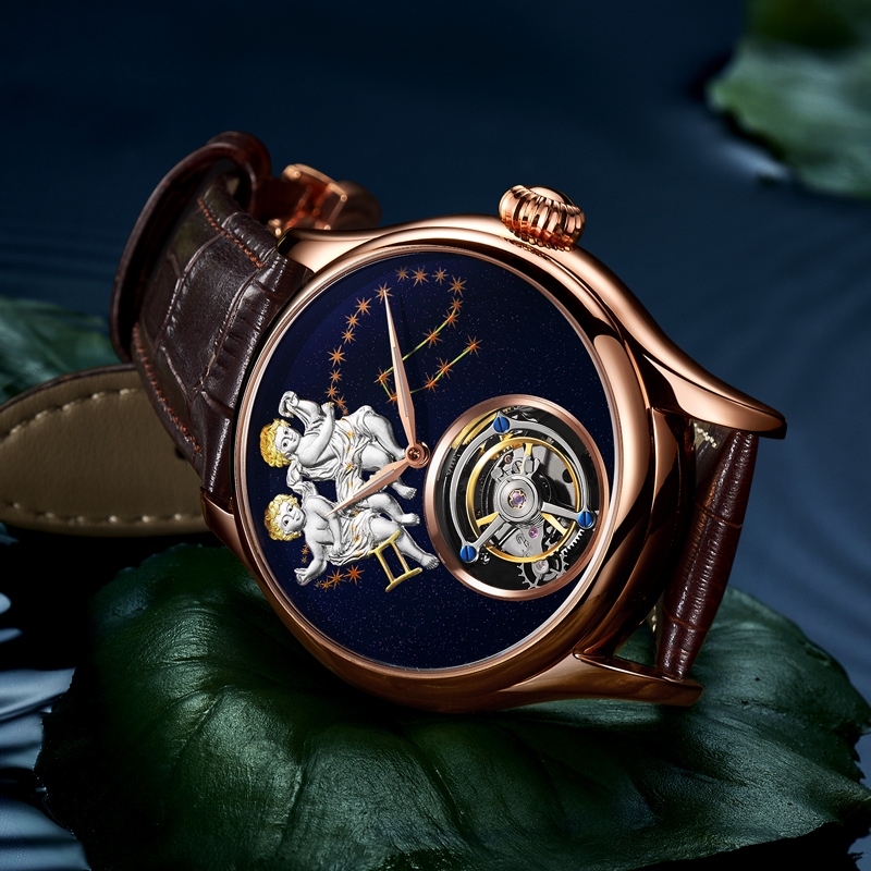 GUANQIN 2019 Real Tourbillon Mechanical Hand Wind Mens Watches Top Brand Luxury Gemini Clock men Gold Sapphire Relogio Masculino 4