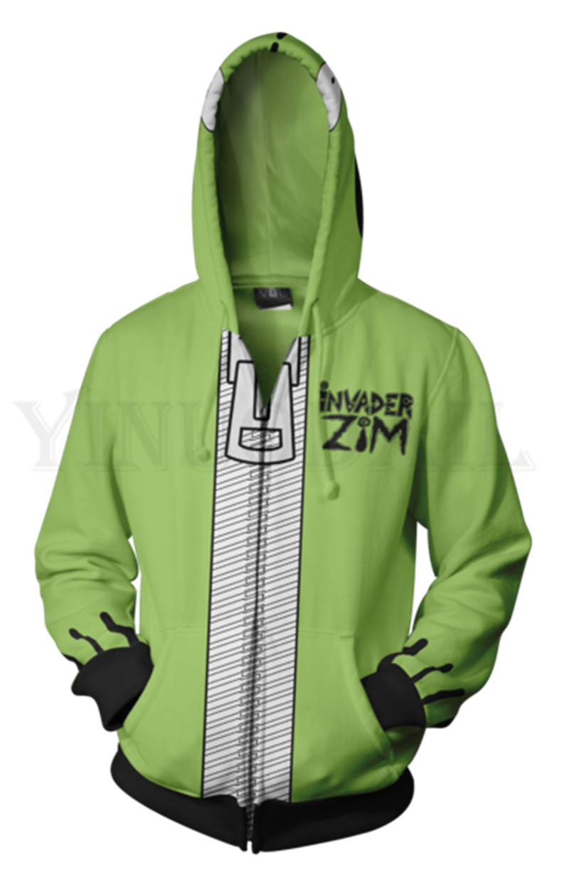 Anime Invader Zim Sweatshirt Men and Women Zipper Hoodies 3d Print Hooded Jacket for Boys Harajuku Streetwear Cosplay