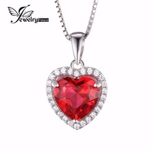 JewelryPalace Coronary heart Of Ocean three.9ct Created Purple Ruby Love Eternally Halo Pendant 925 Sterling Silver Pendant Jewellery for Girls