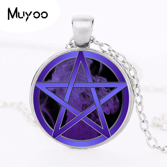 9adce749bd2e US $0.93 41% OFF|Purple Flames Wiccan Logo Necklace Pendant Occult  pentagram Vintage Chain Choker Statement Necklace Women Jewelry Gifts  HZ1-in ...