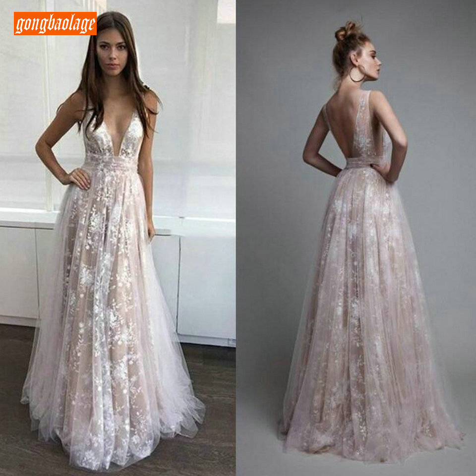 Elegant Women Lace Long Prom Dresses 2019 Sexy Bohemian Evening Gowns ever pretty V-Neck Backless Slim Fit Banquet Party Dress