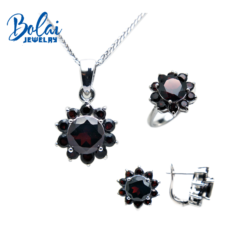 Bolaijewelry,natural garne pendant or necklace or ring or earring jewelry set 925 sterling silver for women elegant wedding gift bolaijewelry natural emerald pendant or necklace and ring and earring jewelry set 925 sterling silver for women anniversary gift