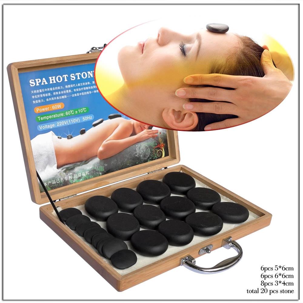 Hot Rock Stone Massage Set Box Riscaldamento Alleviare Lo Stress Mal di Schiena Salute e Bellezza Digitopressione Lava Pietre di Basalto per L'assistenza Sanitaria-in Massaggi e relax da Bellezza e salute su  Gruppo 1