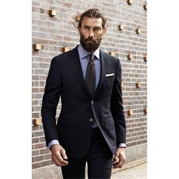 Italian Style Notch Lapel Black Men wedding smoking Suits 2017 Two Buttons Mens Work suit Slim Fit Party Tuxedo (Jacket+Pants)