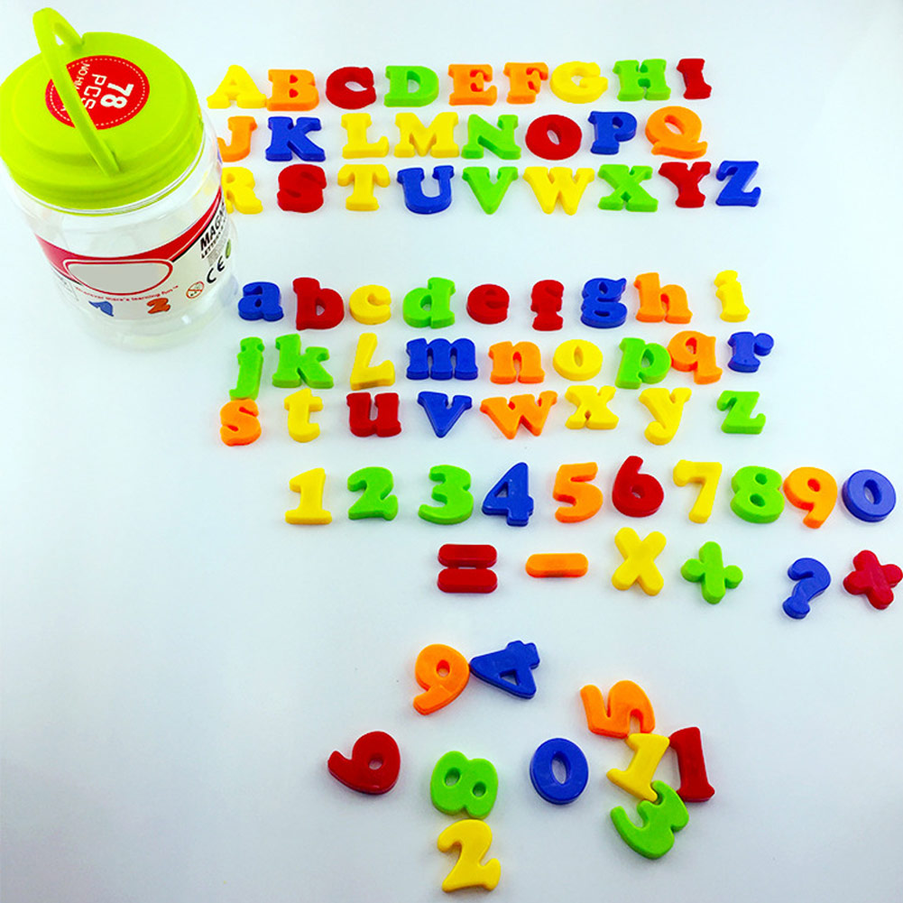 78PCS Children Spelling Toys Counting Magnetic Letters Numbers Alphabet Magnets Educational Toy Set DIY Arithmetic Toy